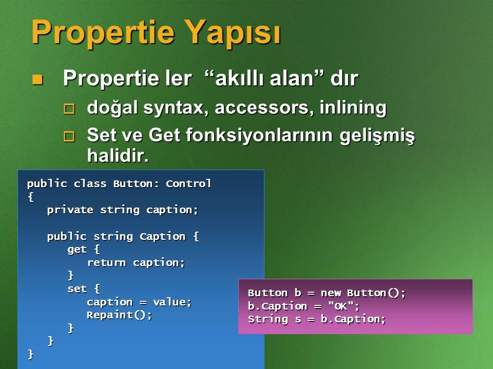 Propertie Yapısı Propertie ler akıllı alan dır