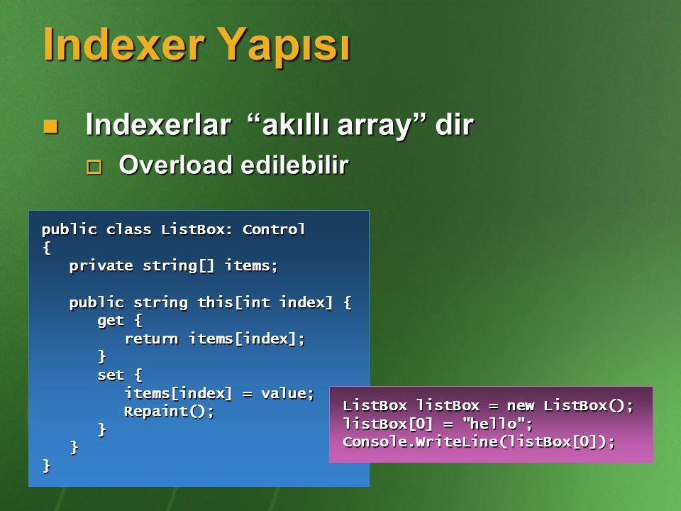 Indexer Yapısı Indexerlar akıllı array dir Overload edilebilir