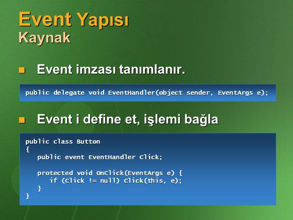 Event Yapısı Kaynak Event imzası tanımlanır.