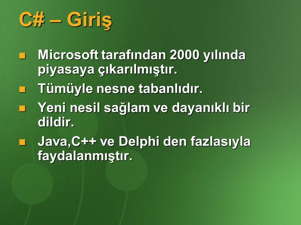 C# – Giriş Microsoft tarafından 2000 yılında piyasaya çıkarılmıştır.