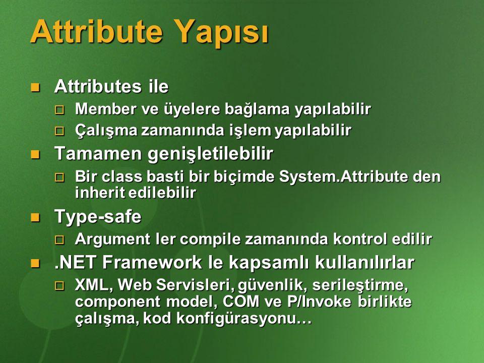 Attribute Yapısı Attributes ile Tamamen genişletilebilir Type-safe
