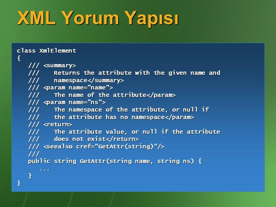 XML Yorum Yapısı class XmlElement { /// <summary>