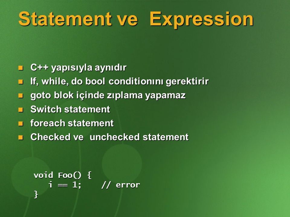 Statement ve Expression