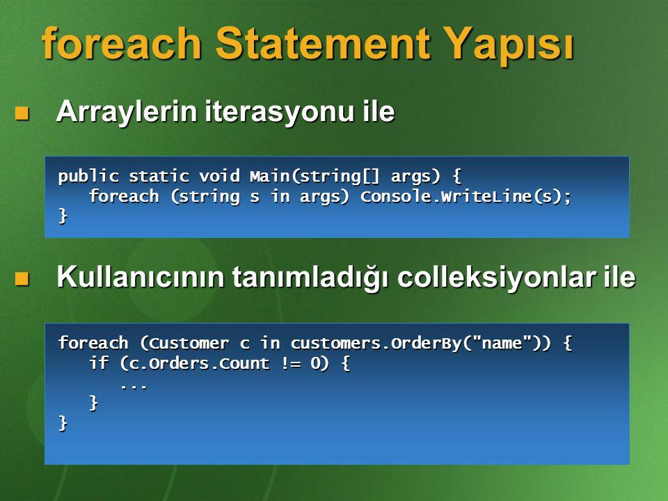 foreach Statement Yapısı