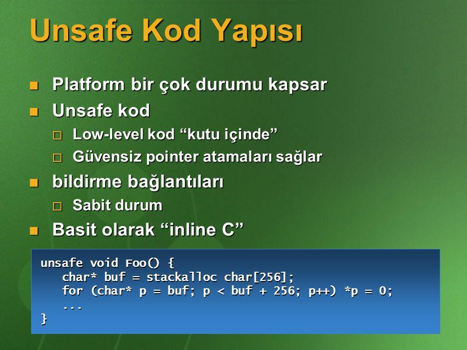 Unsafe Kod Yapısı Platform bir çok durumu kapsar Unsafe kod