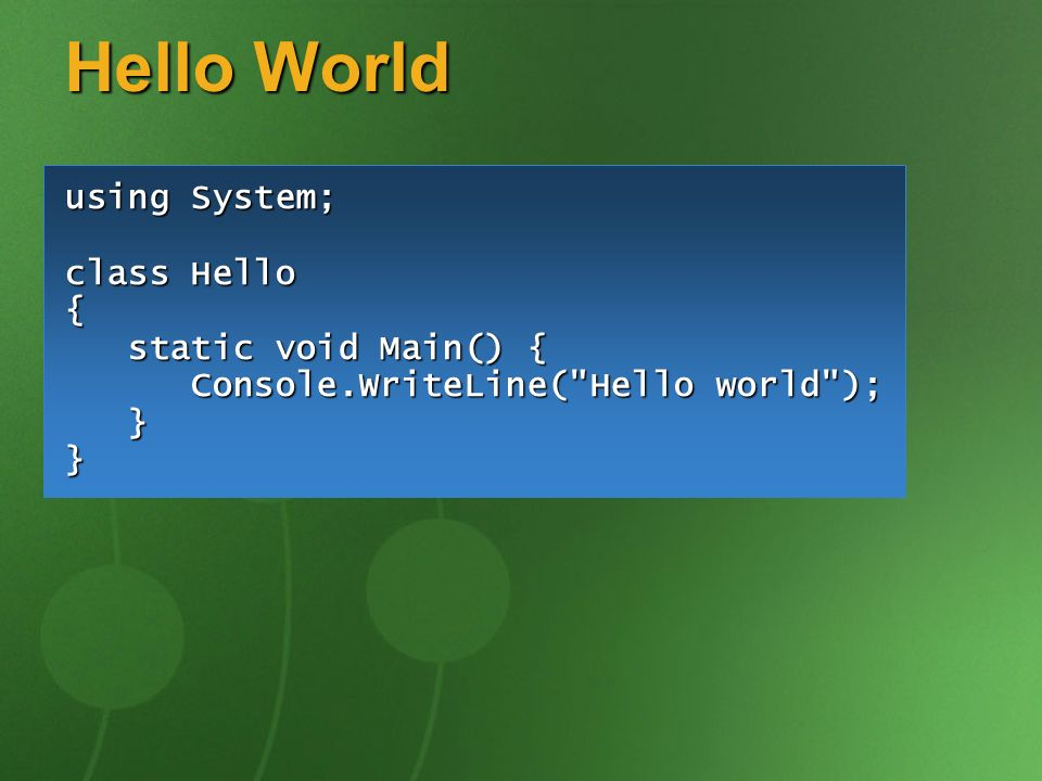 Hello World using System; class Hello { static void Main() {