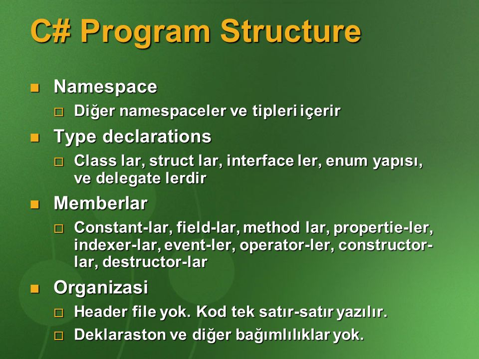 C# Program Structure Namespace Type declarations Memberlar Organizasi