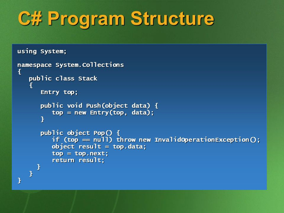 C# Program Structure using System; namespace System.Collections {