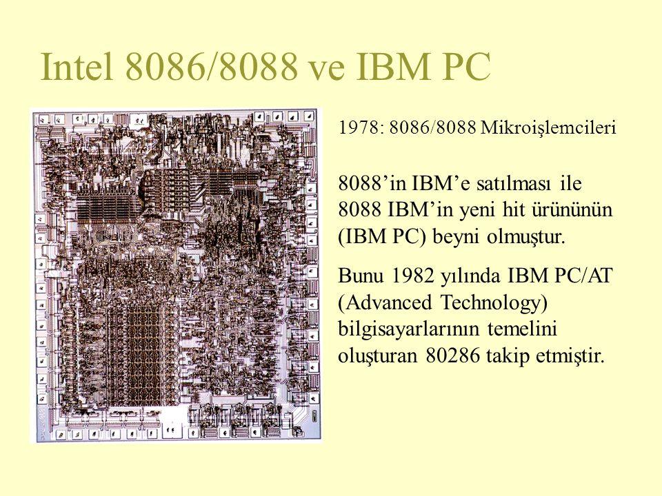 Intel 8086/8088 ve IBM PC 1978: 8086/8088 Mikroişlemcileri. 8088'in IBM'e satılması ile 8088 IBM'in yeni hit ürününün (IBM PC) beyni olmuştur.