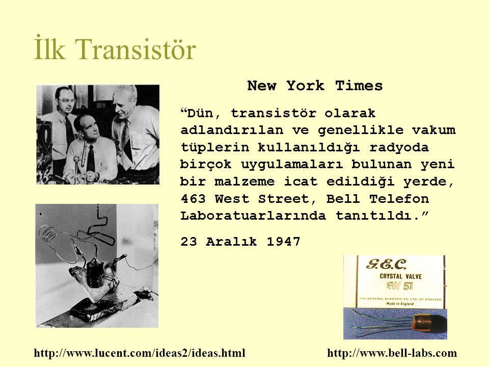 İlk Transistör New York Times