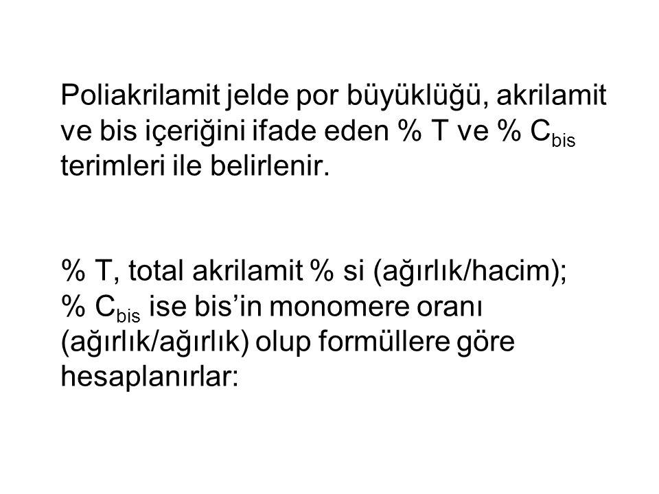 Poliakrilamit jelde por büyüklüğü, akrilamit ve bis içeriğini ifade eden % T ve % Cbis terimleri ile belirlenir.