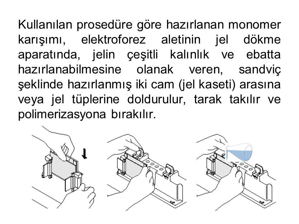 Kullanılan prosedüre göre hazırlanan monomer karışımı, elektroforez aletinin jel dökme aparatında, jelin çeşitli kalınlık ve ebatta hazırlanabilmesine olanak veren, sandviç şeklinde hazırlanmış iki cam (jel kaseti) arasına veya jel tüplerine doldurulur, tarak takılır ve polimerizasyona bırakılır.