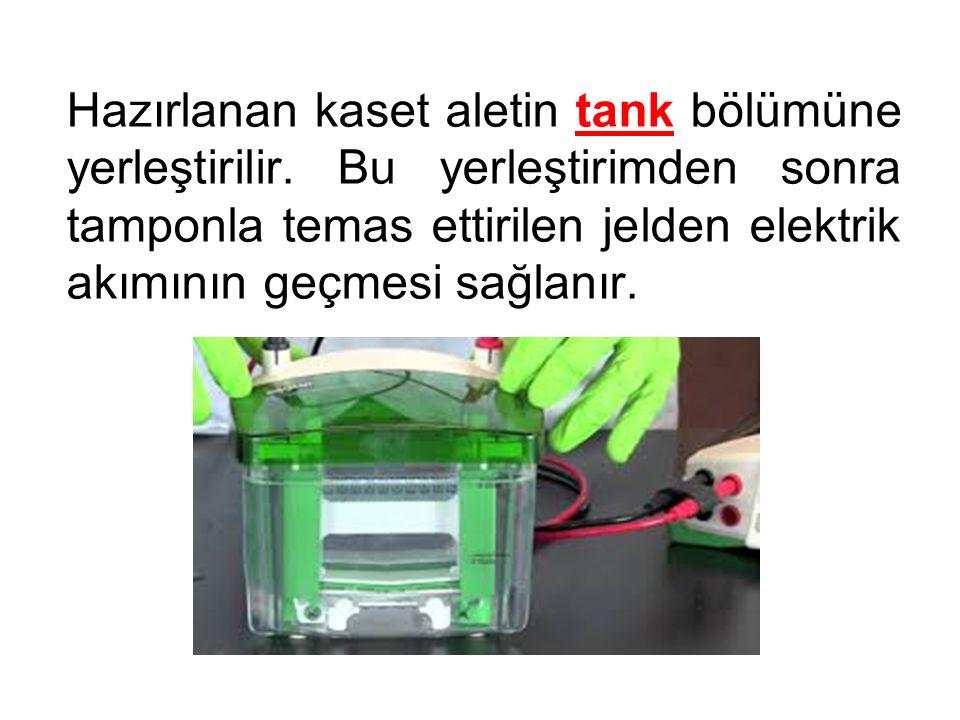 Hazırlanan kaset aletin tank bölümüne yerleştirilir