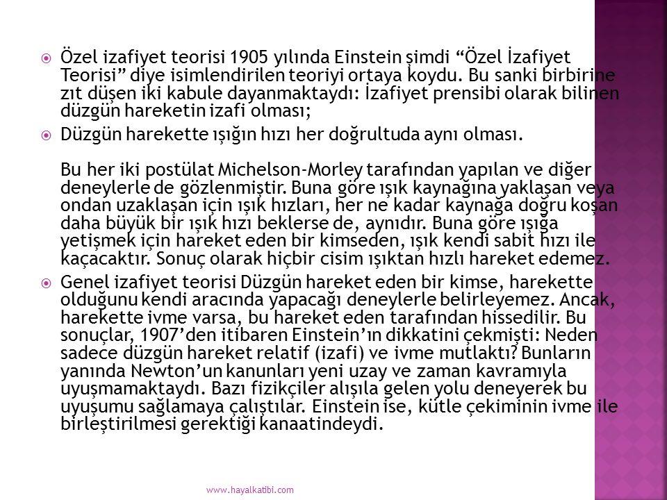 Özel izafiyet teorisi 1905 yılında Einstein şimdi Özel İzafiyet Teorisi diye isimlendirilen teoriyi ortaya koydu. Bu sanki birbirine zıt düşen iki kabule dayanmaktaydı: İzafiyet prensibi olarak bilinen düzgün hareketin izafi olması;