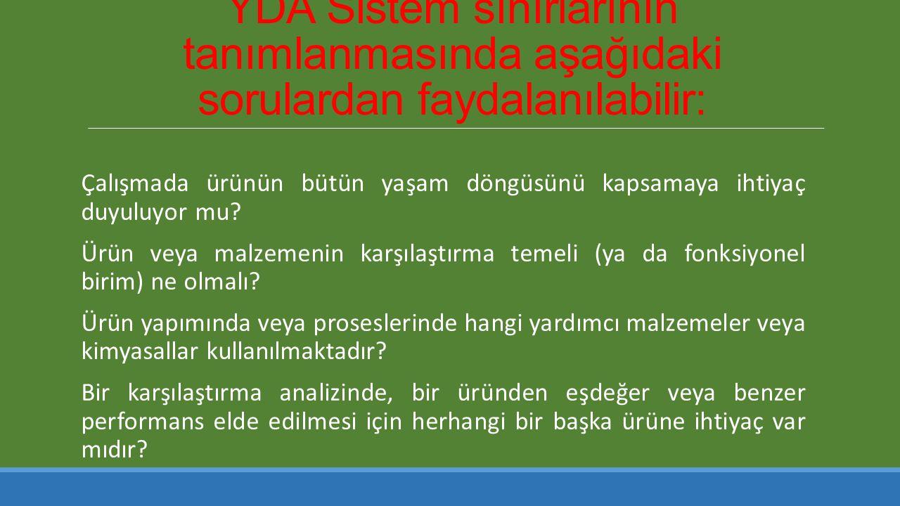 YDA Sistem sınırlarının tanımlanmasında aşağıdaki sorulardan faydalanılabilir: