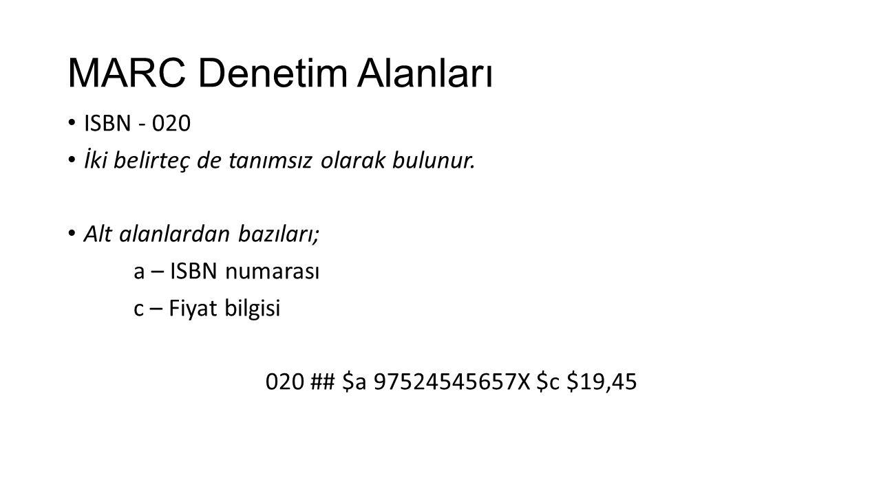 MARC Denetim Alanları ISBN - 020