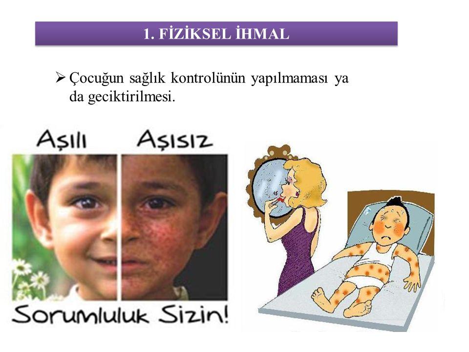 1. FİZİKSEL İHMAL Çocuğun sağlık kontrolünün yapılmaması ya da geciktirilmesi.
