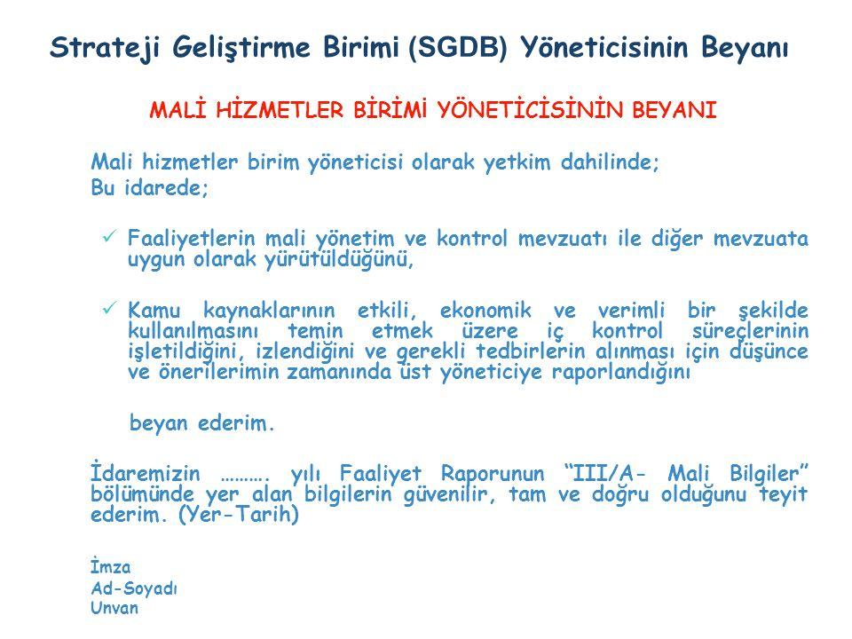Strateji Geliştirme Birimi (SGDB) Yöneticisinin Beyanı