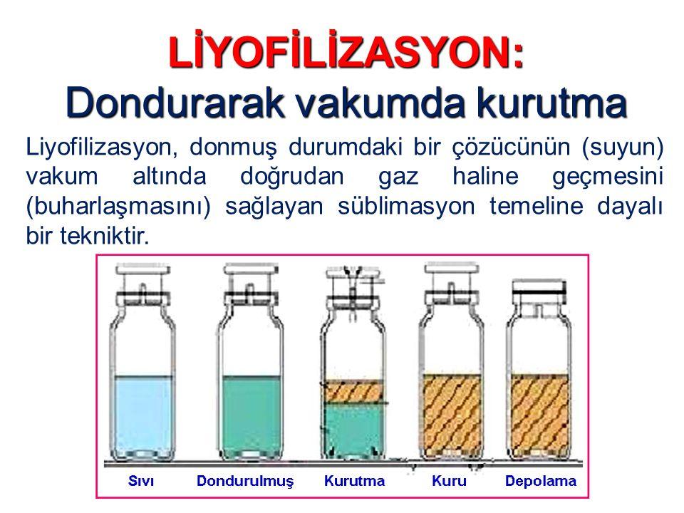 LİYOFİLİZASYON: Dondurarak vakumda kurutma