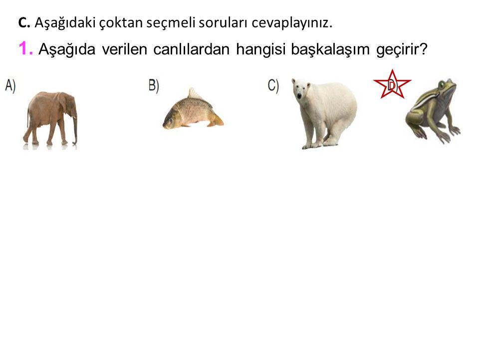 1. Aşağıda verilen canlılardan hangisi başkalaşım geçirir