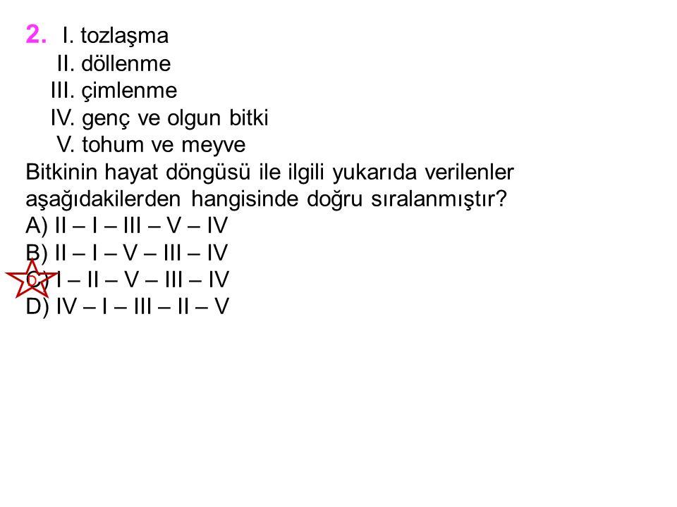 2. I. tozlaşma II. döllenme III. çimlenme IV. genç ve olgun bitki