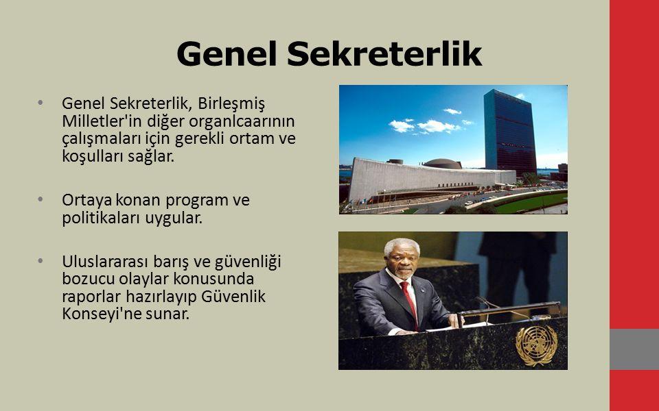 Genel Sekreterlik Genel Sekreterlik, Birleşmiş Milletler in diğer organlcaarının çalışmaları için gerekli ortam ve koşulları sağlar.