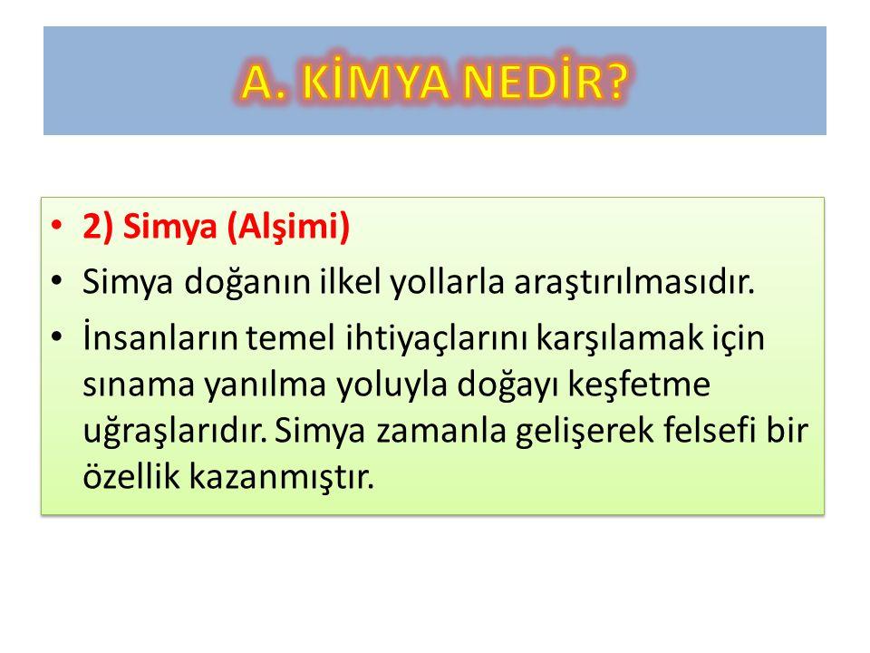 A. KİMYA NEDİR 2) Simya (Alşimi)