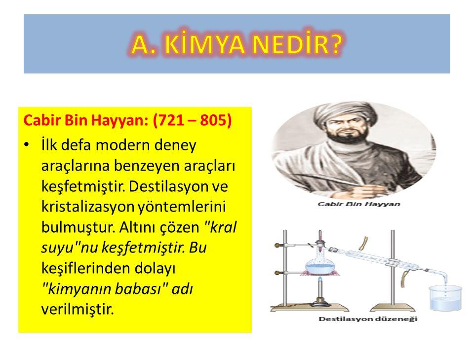 A. KİMYA NEDİR Cabir Bin Hayyan: (721 – 805)