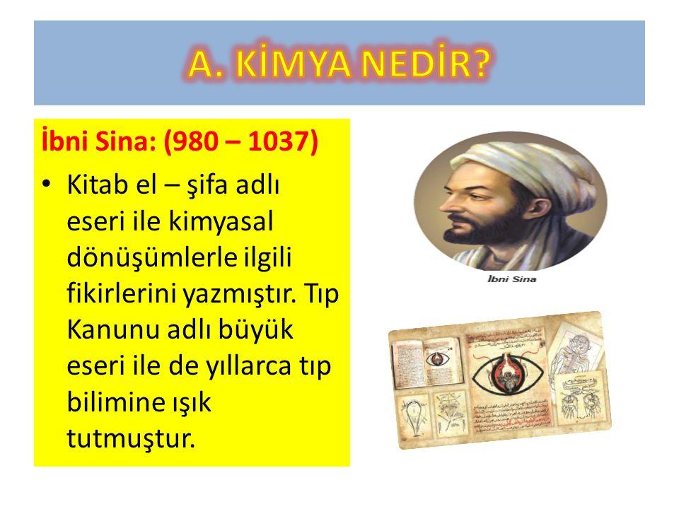 A. KİMYA NEDİR İbni Sina: (980 – 1037)