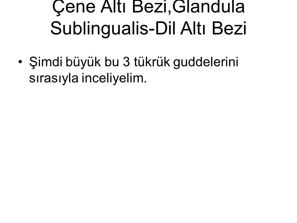 3 adet Tükrük Bezi: Galndula Parotis-Kulak Altı Bezi,Glandula Submandibualris-Çene Altı Bezi,Glandula Sublingualis-Dil Altı Bezi