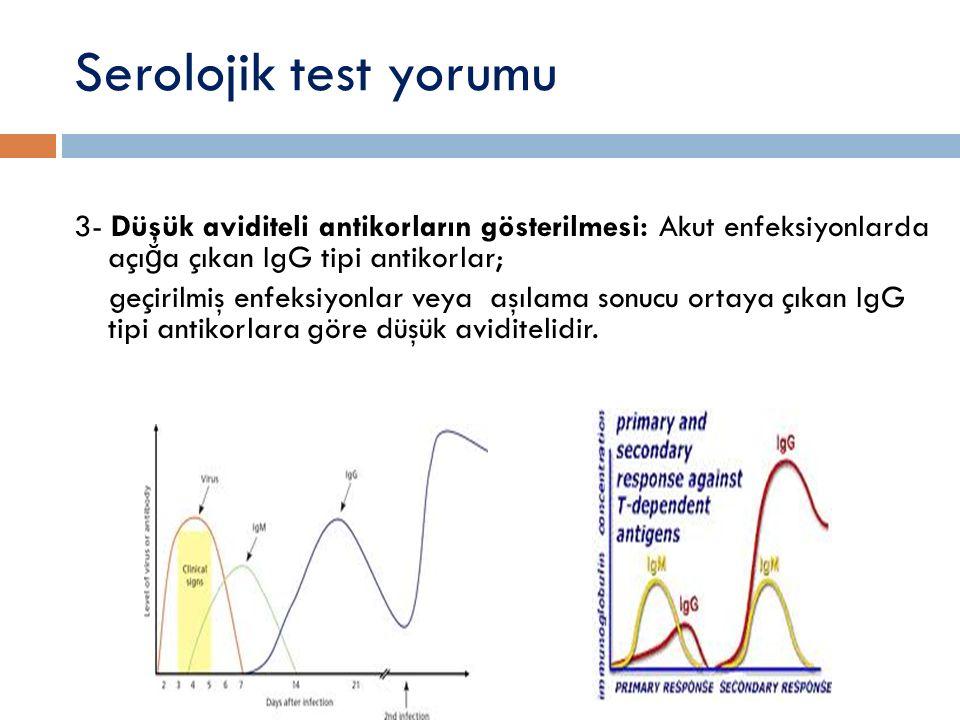Serolojik test yorumu 3- Düşük aviditeli antikorların gösterilmesi: Akut enfeksiyonlarda açığa çıkan IgG tipi antikorlar;