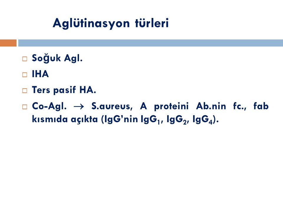 Aglütinasyon türleri Soğuk Agl. IHA Ters pasif HA.