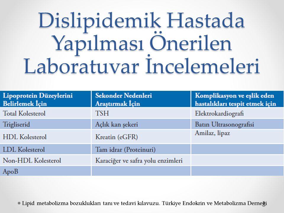Dislipidemik Hastada Yapılması Önerilen Laboratuvar İncelemeleri
