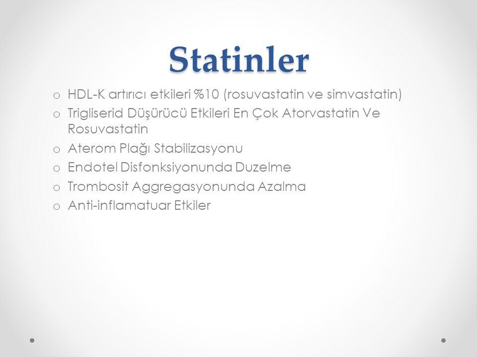 Statinler HDL-K artırıcı etkileri %10 (rosuvastatin ve simvastatin)
