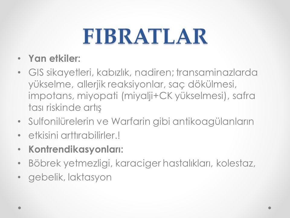 FIBRATLAR Yan etkiler:
