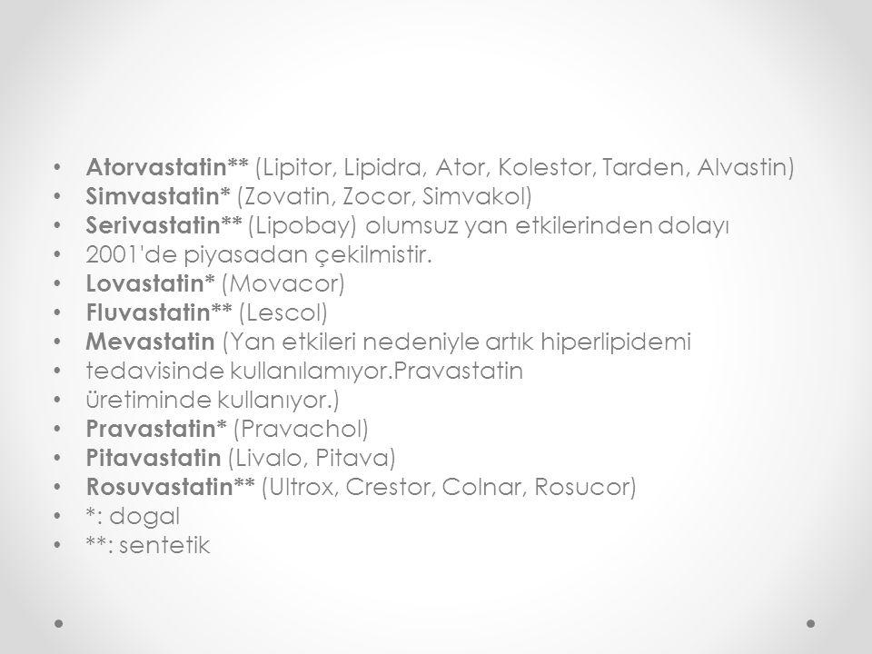 Atorvastatin** (Lipitor, Lipidra, Ator, Kolestor, Tarden, Alvastin)