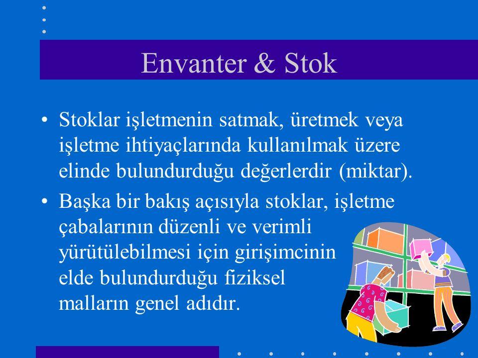 Envanter & Stok Stoklar işletmenin satmak, üretmek veya işletme ihtiyaçlarında kullanılmak üzere elinde bulundurduğu değerlerdir (miktar).