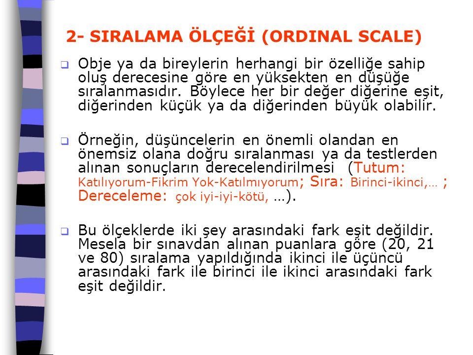 2- SIRALAMA ÖLÇEĞİ (ORDINAL SCALE)