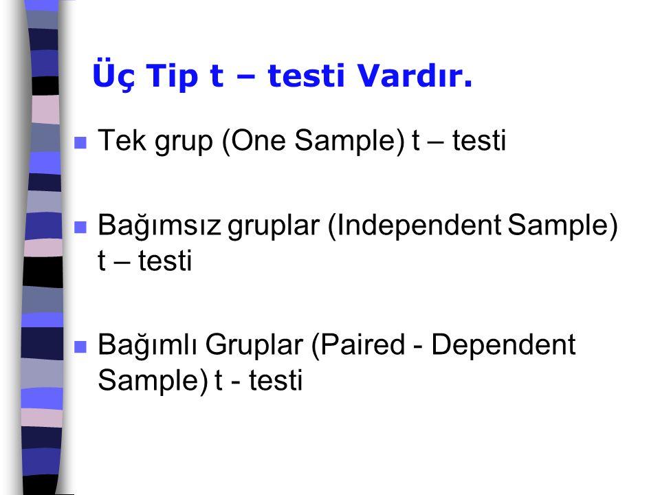 Üç Tip t – testi Vardır. Tek grup (One Sample) t – testi