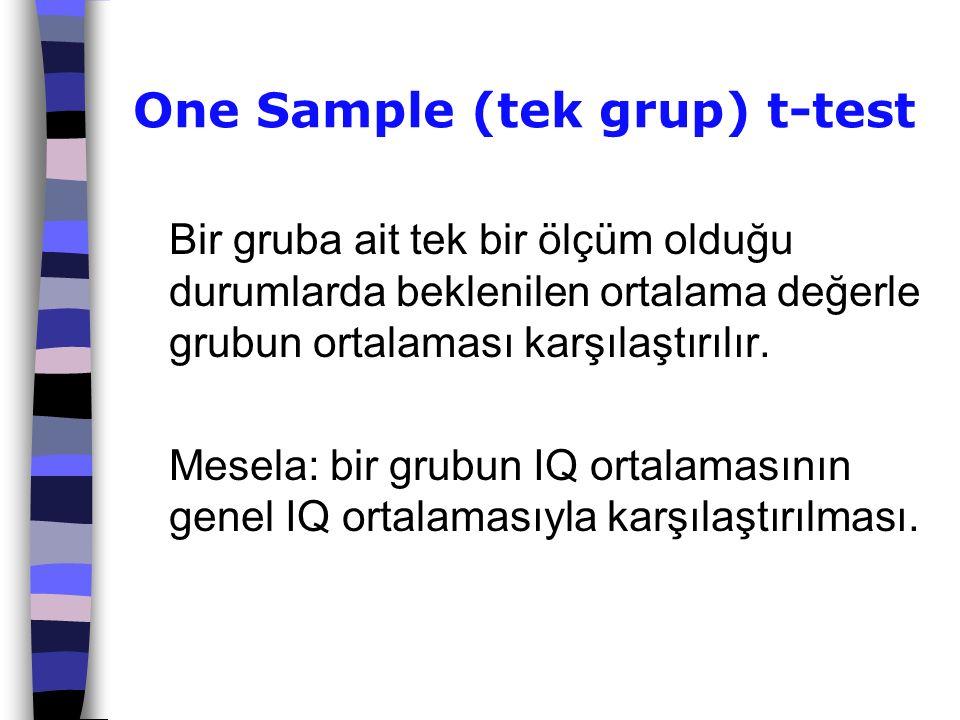 One Sample (tek grup) t-test