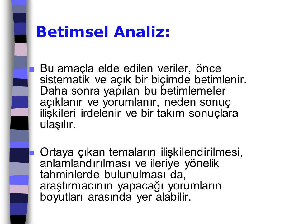 Betimsel Analiz: