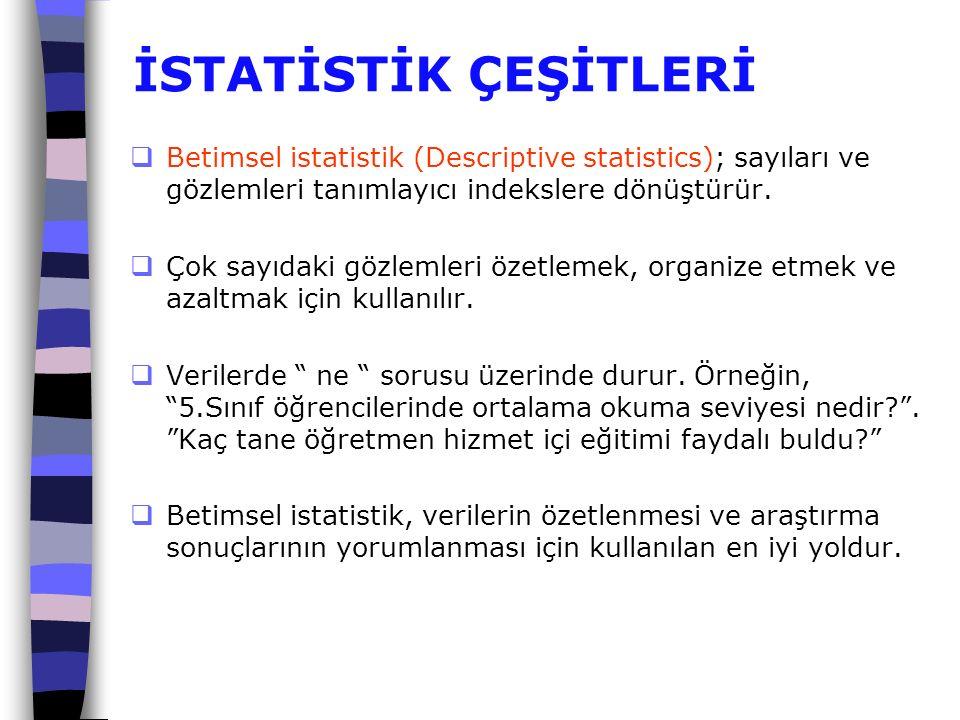 İSTATİSTİK ÇEŞİTLERİ Betimsel istatistik (Descriptive statistics); sayıları ve gözlemleri tanımlayıcı indekslere dönüştürür.