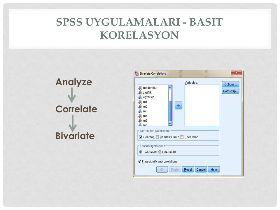 spss uygulamalarI - Basit korelasyon