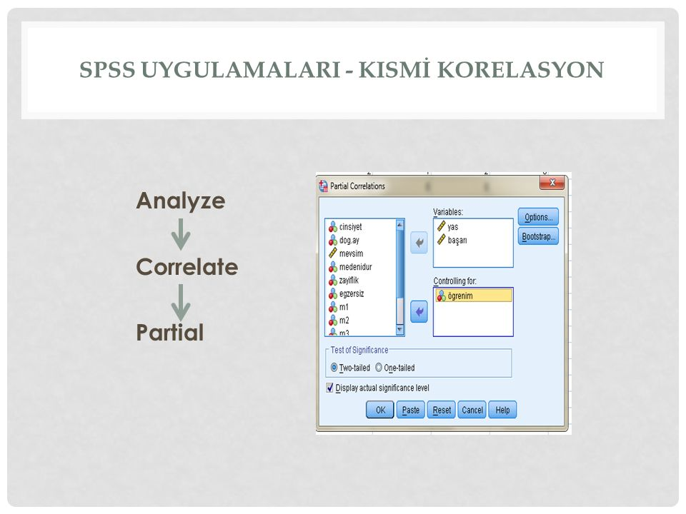 spss uygulamalarI - KISMİ korelasyon