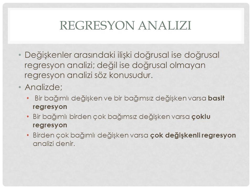 Regresyon analizi Değişkenler arasındaki ilişki doğrusal ise doğrusal regresyon analizi; değil ise doğrusal olmayan regresyon analizi söz konusudur.