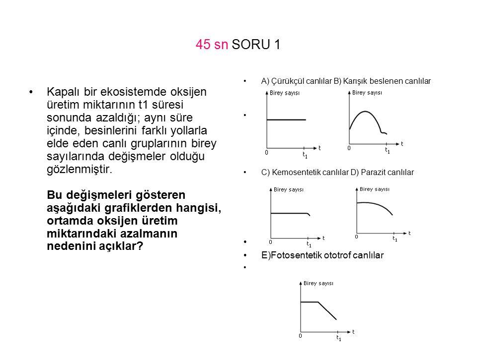 45 sn SORU 1 A) Çürükçül canlılar B) Karışık beslenen canlılar. C) Kemosentetik canlılar D) Parazit canlılar.