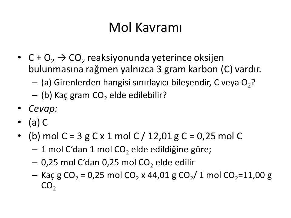 Mol Kavramı C + O2 → CO2 reaksiyonunda yeterince oksijen bulunmasına rağmen yalnızca 3 gram karbon (C) vardır.