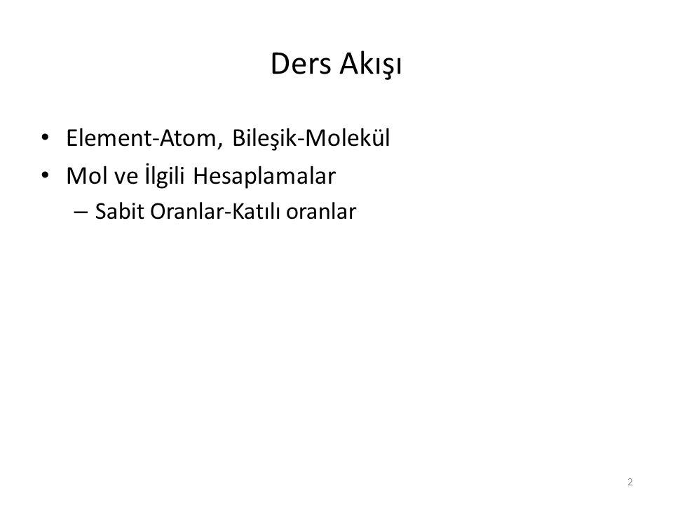 Ders Akışı Element-Atom, Bileşik-Molekül Mol ve İlgili Hesaplamalar