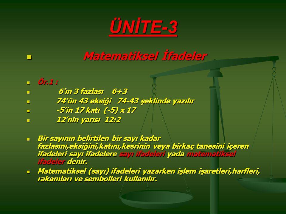 ÜNİTE-3 Matematiksel İfadeler Ör.1 : 6'ın 3 fazlası 6+3