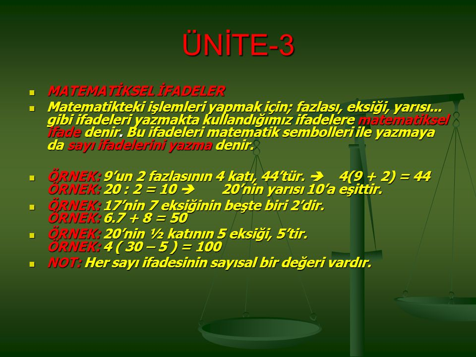 ÜNİTE-3 MATEMATİKSEL İFADELER